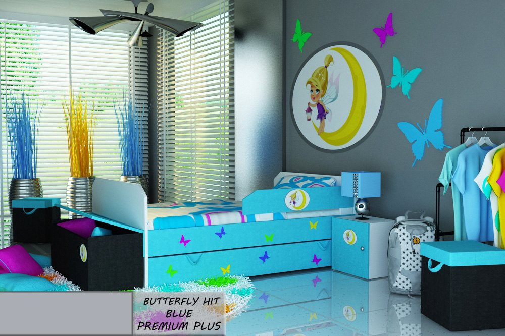 Postel PREMIUM PLUS BUTTERFLY HIT BLUE 140X80 cm