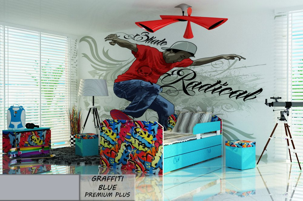 Postel PREMIUM PLUS GRAFFITI BLUE 140X80 cm